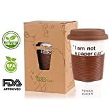 Eco Cup - Ceramic Reusable Lovely Face Coffee Travel Mug (14oz 420ml) With Silicone Lid & Sleeve, Best Gift for Your Best Friends (Brown)