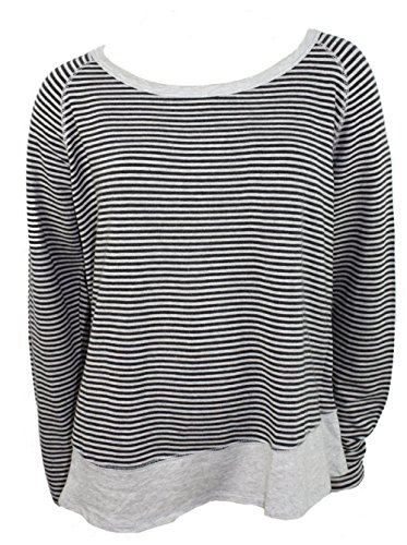 Kersh Ladies' French Terry Boatneck Top Pebble Grey Mix Stripe Med (Boatneck Tops For Women compare prices)