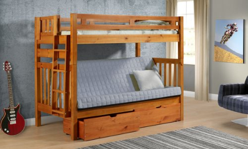 Tall Twin over Full Futon Mission Honey Bunk Bed with Drawers (Twin Over Full Futon compare prices)