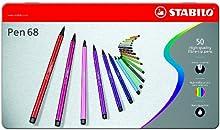 Comprar STABILO Pen 68 - Rotulador premium - Estuche de metal con 50 unidades (46 colores)