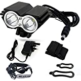 2 Cree XML U2 5000LM LED Bicycle Bike Lights Front Mounted Headband Rechargeable Headlight - Black