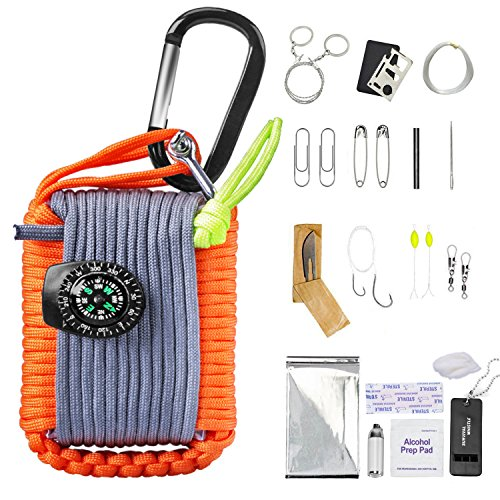Sahara Sailor 30 in 1 Survival Bracelet Kit Carabiner Grenade Paracord with Compass Fire Starter Weights Floats Fishing Line Hooks knife Whistle Mini Torch