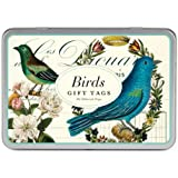Cavallini and Glitter Gift Tags Birds 36 Assorted Gift Tags Packaged in a Tin
