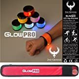 Glow in the Dark LED GlowPRO Sports Armband -Stocking Stuffer! Night Safety Snap Bracelet is the best gift to improve night vision. Slap Bracelets are Great Christmas Gifts that Keep Kids Safe! (Red)