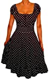 FUNFASH WOMENS PLUS SIZE POLKA DOTS ROCKABILLY PEASANT PLUS SIZE COCKTAIL DRESS