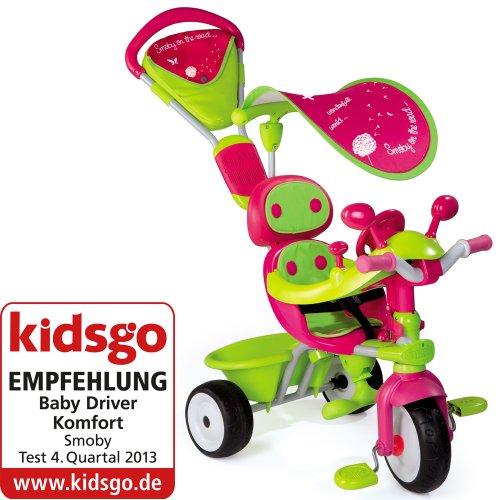 Smoby Dreirad Baby Driver V Comfort mit Sonnenschutz und Flüsterräder Girl //Kinder Dreirad Trike Kinderdreirad Schiebestange