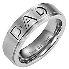 buy Willis Judd New Mens Titanium Dad Ring Engraved Best Dad Ever With Velvet Ring Box