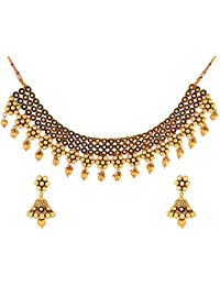 JFL- Bewitching Beaded Designer One Gram Gold Plated Necklace / Jewellery Set With Earring For Women