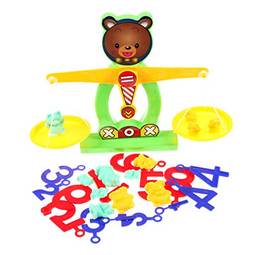 Balance Beam Scale Measuring W Bear Weights Numbers Preschool Kids Toy^.