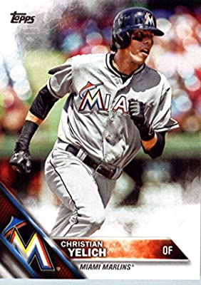 2016 Topps #223 Christian Yelich Miami Marlins Baseball Card in Protective Screwdown Display Case
