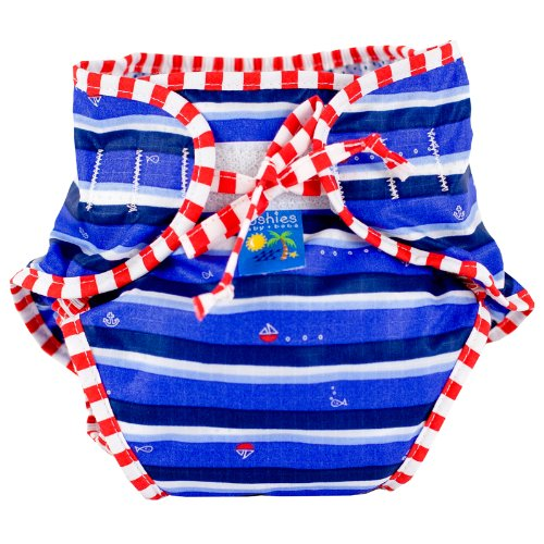 Kushies Swim Diaper, Blue Ahoy Print, Medium
