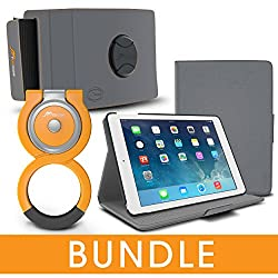 rooCASE iPad Air 2 1 Orb Bundle, Folio Case Cover Stand for Apple iPad Air 2 1 with Orb Loop and Strap - Rotating and Detachable iPad Air 2 / Air 1 Tablet Shell Case, Gray [Patented Orb System]