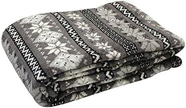 Soleil d'Ocre 512155 Snow Plaid Polaire Imprimée Polyester Gris 120 x 160 cm