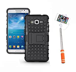 Hard Dual Tough Military Grade Defender Series Bumper back case with Flip Kick Stand for Samsung G530 + Mini Aux Wired Selfie Stick Compatible for all Mobiles Phones by Carla Store.