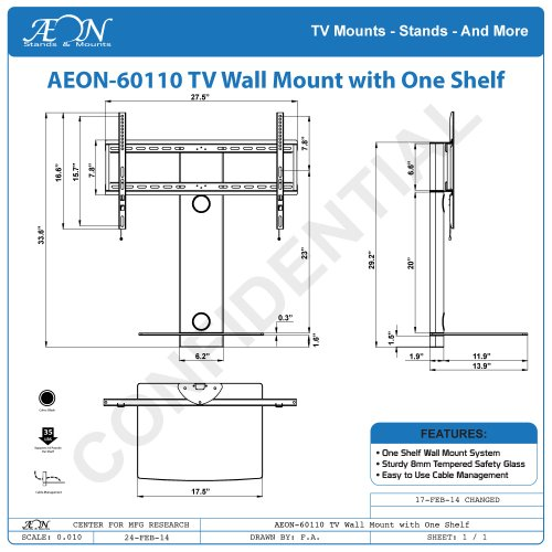 swiveling tv wall mount with shelf shelves hardware electrical supplies boxes brackets. Black Bedroom Furniture Sets. Home Design Ideas