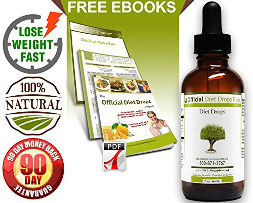 Official Diet Drops - 2Oz. 21-Day Program - Natural, Proven Formula To Lose Weight Fast - Lose 1 Pound A Day - 100% Money Back Guarantee No Questions Asked - Includes Free Recipe Book And Weight Loss Log (Pdfs) - Made In Usa In Fda-Registered, Gmp-Certifi