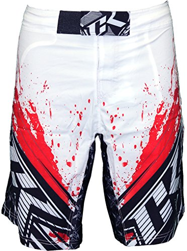 Contract Killer Stained S2 Fight Shorts - White/Red - 32