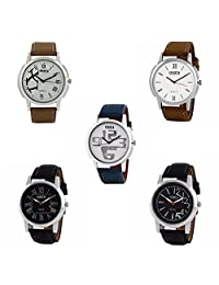 Oura Analog Round Formal Official Wear Watch For Men Combo Of 5pc - B019ZIS7E8