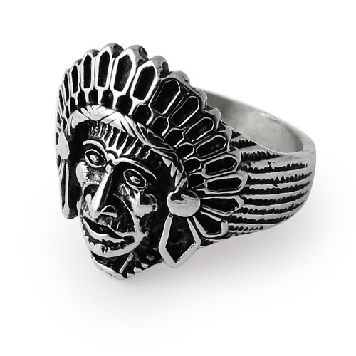 Piercingpoint Fancy Native American Indian Chief 316L Surgical Steel Men Finger Ring- Size Size 10