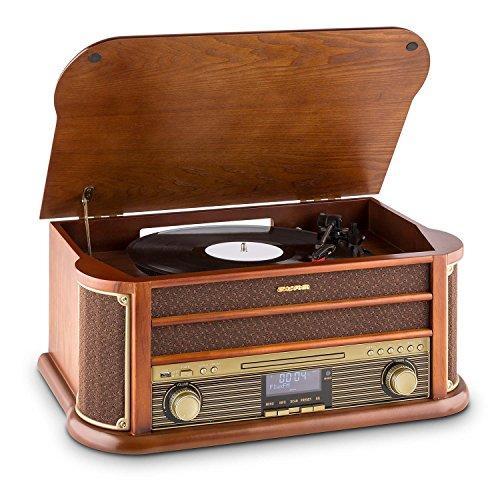 Auna Belle Epoque 1908 Retro-Stereoanlage Plattenspieler Nostalgie-Musiksystem mit DAB/DAB+ Radio-Tuner, Bluetooth, MP3-fähiger CD-Player, Kassettendeck (inkl. Fernbedienung, USB-Port, Holzgehäuse)