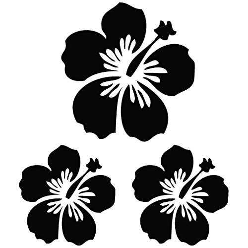 Hibiscus Flowers Sign - Plant Decal [15cm Black] Vinyl Removable Decorative Sticker for Wall, Car, Ipad, Macbook, Laptop, Bike, Helmet, Appliance, Instrument, Motorcycle, Suitcase (Ipad Appliances compare prices)