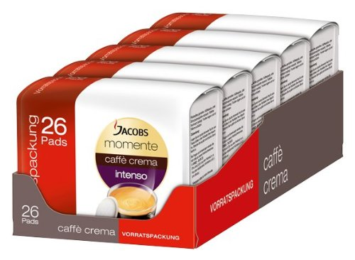 Shop for Jacobs Momente Pads, Economy Pack 26 x Caffè Crema Intenso Pads Pack of 5 x 171 G) by Jacobs