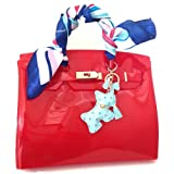 DOG ostrich pattern charm ドッグ犬型チャーム キーリング チェーン バッグにブルー