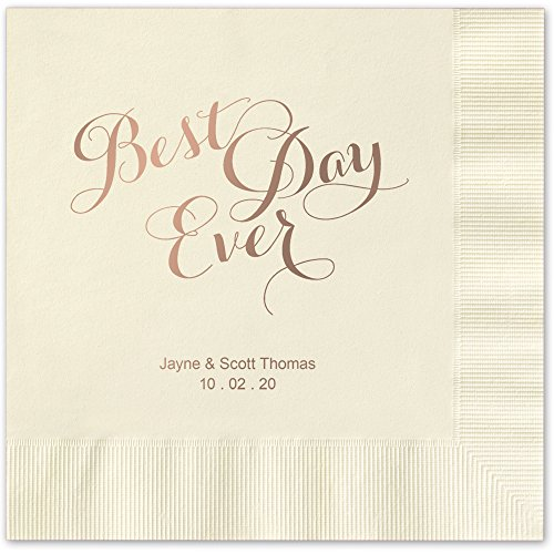 Best Day Ever Personalized Beverage Cocktail Napkins - Canopy Street - 100 Custom Printed Ivory Ecru Paper Napkins with choice of foil stamp (5860B)
