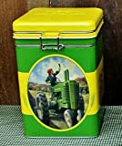 John Deere Tractor Square Lock Top Tin Canister - Country Farm Home Kitchen Decor