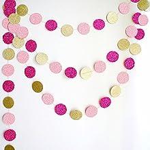98ft Glitter Paper Circle Polka Dots Garland- Glod65292hot Pink amp Pink