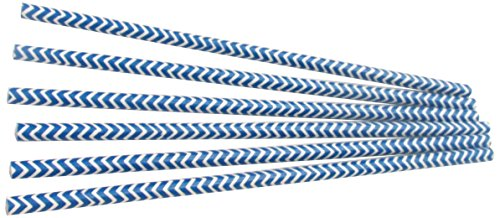 WeGlow International Dark Blue Chevron Stripe Party Paper Straws Novelty (12-Pack)
