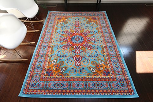 Oriental Traditional Isfahan Persian Light Blue Navy White