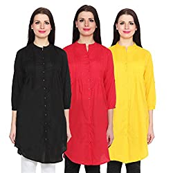 NumBrave Black, Red & Yellow Long Cotton Top (Pack of 3)