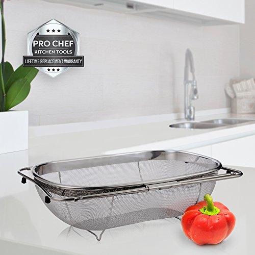 Over The Sink Strainer 6 Quart Stainless Steel Fine Mesh Sieve Kitchen  Colander Extendable Handles