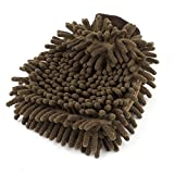 uxcell microfiber car vehicle cleaning washing chenille mitten glove brown