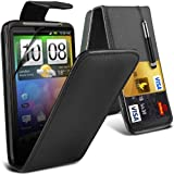 (Black) HTC Desire HD Protective Faux Leather Debit/Credit Card Slot Flip Case Cover Skin, Retractable Capacative Touch Screen Stylus Pen & Screen Protector Guard By *Aventus*