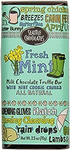 Seattle Chocolates Truffle Bar, Fresh Mint, 2.5 Ounce (Pack of 12)