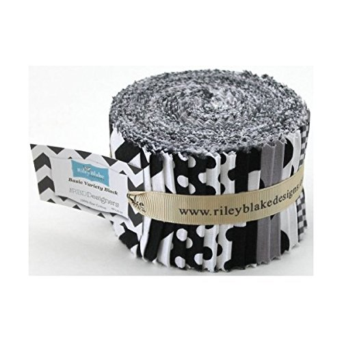 Riley Blake BASICS VARIETY BLACK Rolie Polie 24 2.5 inch Jelly Roll Strips Quilt Fabric RP-110-24