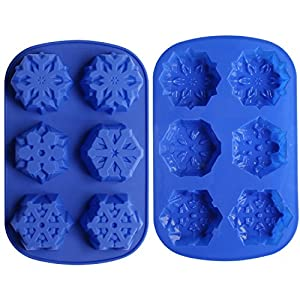 Ozera 6 Cavity Snowflake Silicone Non Stick Cake Bread Baking Mold Cake Pan Muffin Cups Biscuit Chocolate Jelly Candy Maker Mold, Handmade Soap Mold Ice Cube Tray, Set of 2