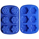 Ozera 6 Cavity Snowflake Silicone Non Stick Cake Bread Baking Mold Cake Pan Muffin Cups Biscuit Chocolate Jelly Candy Maker Mold, Handmade Soap Mold Ice Cube Tray, Set of 2, Blue