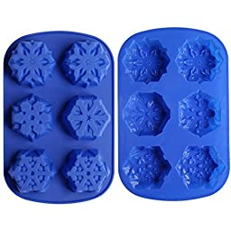 Ozera 6 Cavity Snowflake Silicone Non Stick Cake Bread Baking Mold (2 Pack), Cake Pan Muffin Cups Biscuit Chocolate Jelly Candy Maker Mold, Handmade Soap Mold Ice Cube Tray, Blue