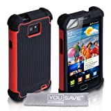Custodia Samsung Galaxy S2 i9100 Rosso E Nero Combo Presa Doppia Silicone Caso Con Schermo Pellicola Protezionedi Yousave Accessories