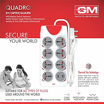 GM-Quadro-8-Strip-Spike-Surge-Protector-(2.5-Mtr)