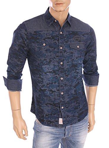 Kaporal-Uomo-Camicia Wizza Blu Navy a motivi blu XXL