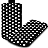 IGloo Polka Dot Print Pouch Case Cover Sleeve with Pull Tab for the BlackBerry Curve 9360 Mobile Phone - Black / White