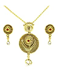 Ethnic Diva Traditional Pendant Set By Zaveri Pearls-ZPFK3294