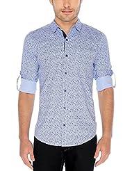 Nick&Jess Mens Sky Blue Paisley Printed Slim Fit Cotton Shirt