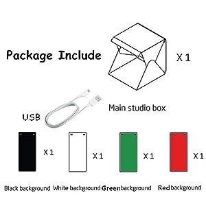 Table Top Mini Photo Studio Box - Light Box Kit with Built-in 2pcs White LED Strips - Foldable LED Light Box Softbox Kit with 4 Colors Backdrops for P