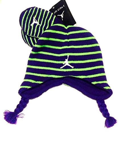 Nike Toddler Boys 12/24M Striped Knit Beanie Hat & Mittens Set Lime