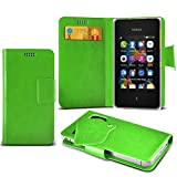 (Green) Nokia Asha 500 Duel Sim Super Thin PU Leather Suction Pad Wallet Case Cover Skin With Credit/Debit Card Slots By Fone-Case